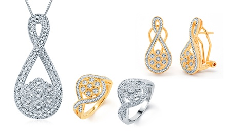 groupon daily deal - 1/2 CTTW 3-Piece Diamond Jewelry Set with a Necklace, Earrings, and Ring