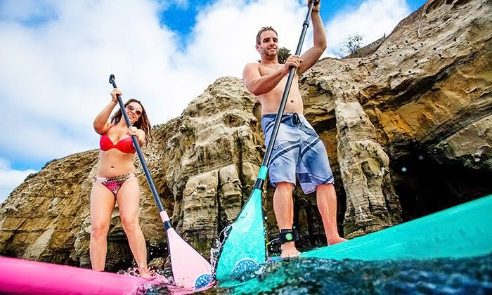 Surf Diva - La Jolla Shores: Half-Day Standup Paddleboard or Surfboard Rental, or 2-Day Family Gear Rental at Surf Diva (Up to 57% Off)