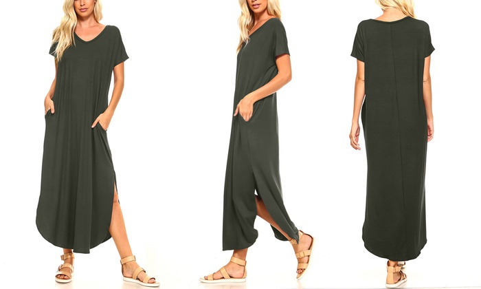 18e08f5f60c Isaac Liev Women's Flowy Maxi Dress With Pockets and Side Slits