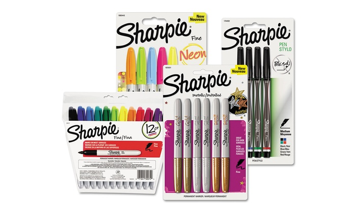 Sharpie 4 Pack Fine Markers Black Free Postage Green Red Blue