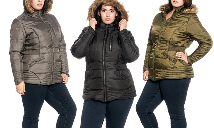 Women's Plus-Size Sherpa-Lined Puffer Jacket with Fur-Trimmed Hood