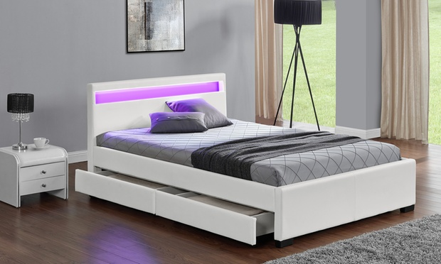 lit simili cuir groupon shopping. Black Bedroom Furniture Sets. Home Design Ideas