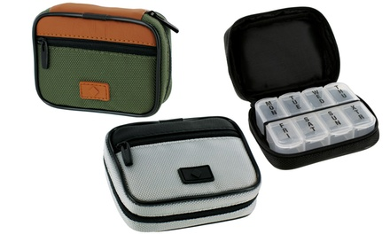Classic Style Men's Zippered Pill and Vitamin Travel Case