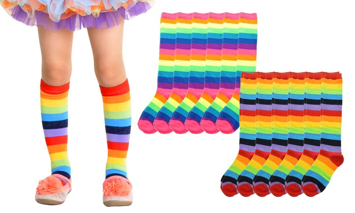 b51b550cc26 Children s Rainbow Striped Knee-High Socks (6-Pack)
