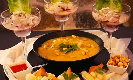 Menú peruano para dos o cuatro con entrante, primero, segundo, postre y bebida desde 19,90 € en La choza Náutica