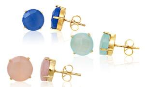18k Gold-plated Genuine Gemstone Stud Earrings