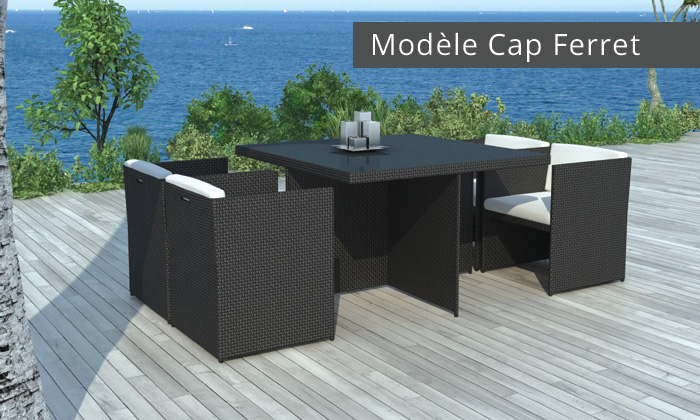 Salon de jardin encastrable groupon shopping for Table exterieur 2 places