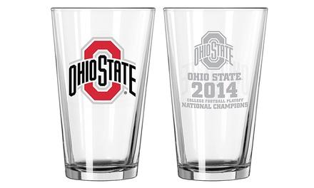 Set of 2 Ohio State Buckeyes 2014 NCAA Football National Championship Pint Glasses