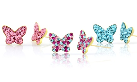 Kids' Butterfly Stud Earrings with Swarovski Crystals