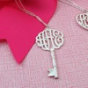72% Off a Silver Monogram Key Necklace