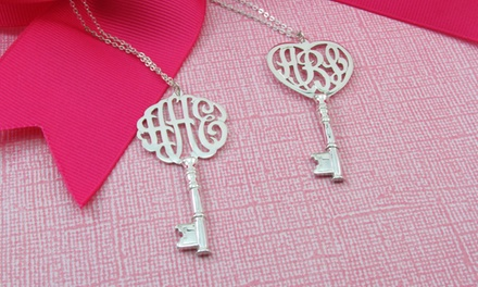 $39.99 for a Silver Monogram Key Necklace from NameJewelrySpot ($143.99 Value)
