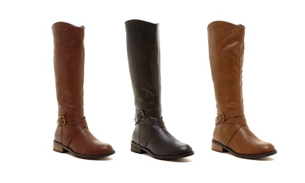 Bucco Venita Women's Riding Boots in Black, Brown, or Cognac.