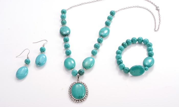 Genuine Turquoise 3-Piece Jewelry Set: Genuine Turquoise 3-Piece Jewelry Set.Free Returns.