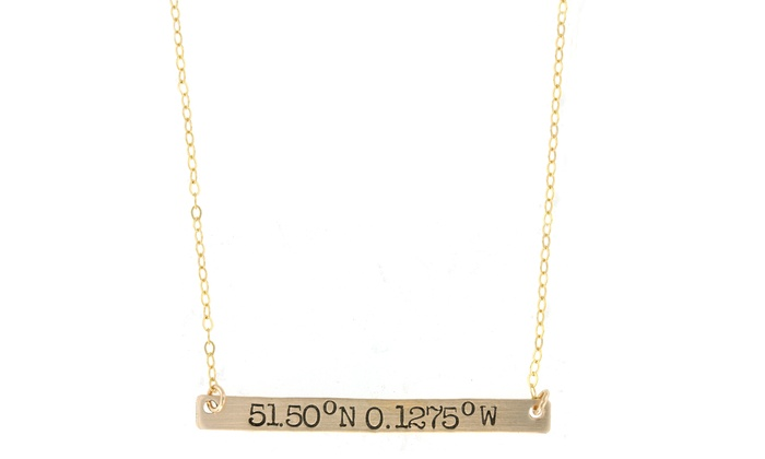Hannah Design: Gold Coordinates Bar Necklace from Hannah Design
