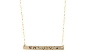 Gold Coordinates Bar Necklace