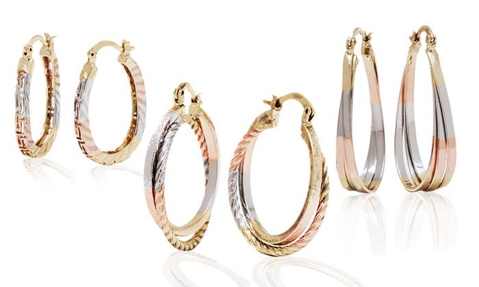 18k Gold Plated Tri Color Hoop Earrings