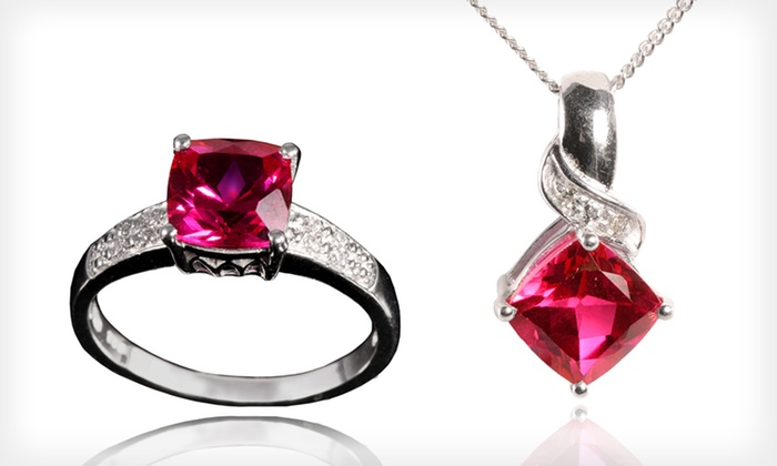 Pendant or Ring with Lab-Created Ruby: $19 for a Pendant or Ring with Lab-Created Ruby ($79 List Price). Six Ring Sizes Available. Free Shipping. Free Returns.