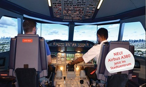 iPilot (Zentrale): 30, 60 oder 90 Min. Flight Experience im A380 Super Jumbo-Flugsimulator in Düsseldorf bei iPilot (bis zu 54% sparen*)