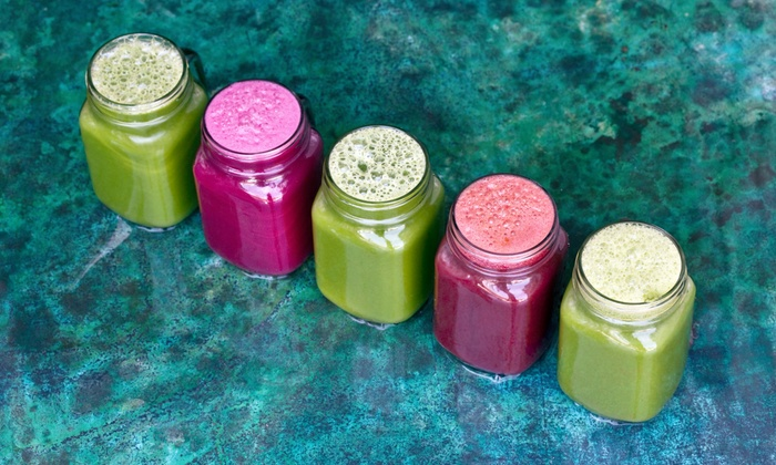 Juicey Lucy's - Multiple Locations: Two Juices and Two Restorative Teas or One- or Three-Day Juice Cleanse from Juicey Lucy's (57% Off)