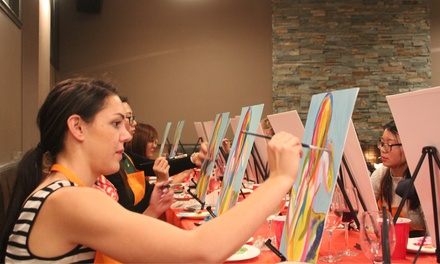 TwoHour Social Painting Class for One $29, Two $55 or Four People $99 with Paint Along Up to $260 Value