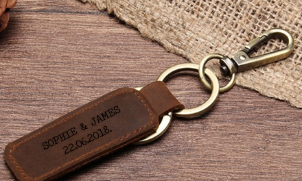 From $6 for One or Two Personalised Leather Keyrings: Small or Large (Don't Pay Up to $89.92)
