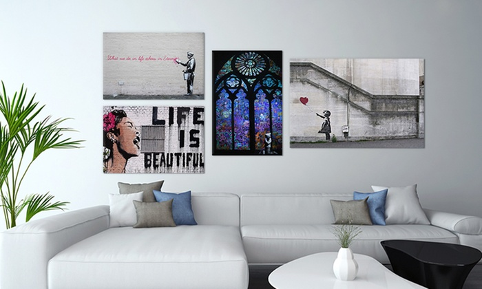 Best of Banksy Gallery Wrapped Canvas Prints | Groupon