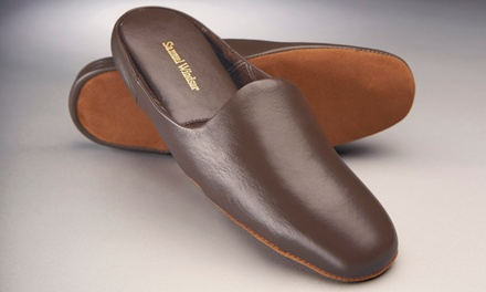 One or Two Pairs of Samuel Windsor Men's Handmade Leather Slippers