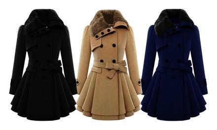 Manteau pour femme avec ceinture nœud, col fourrure synthétique, modèle Daisy