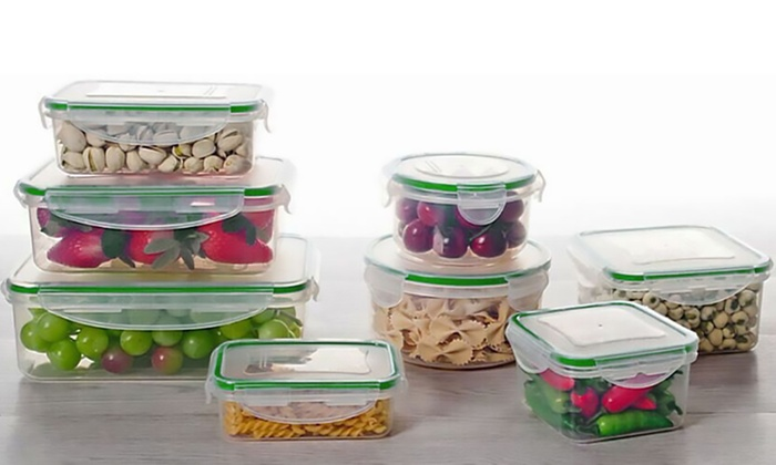 food storage containers and airtight locking lids set  16  or 24 pc      food storage containers and airtight locking lids set  16  or 24      rh   groupon com