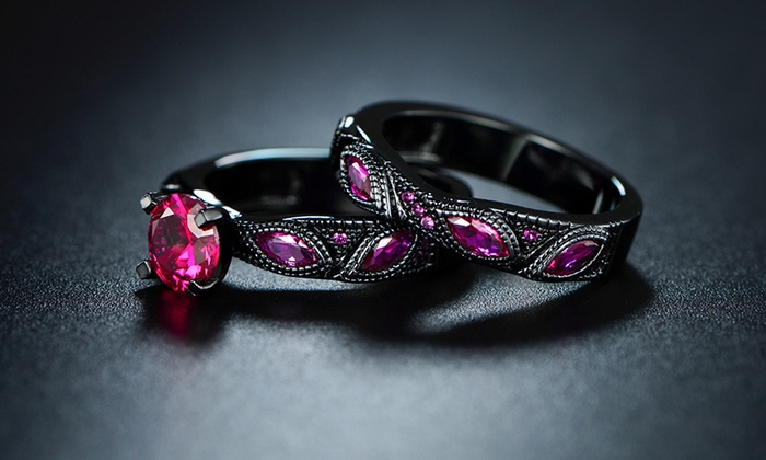 Black & Pink Engagement Ring Set