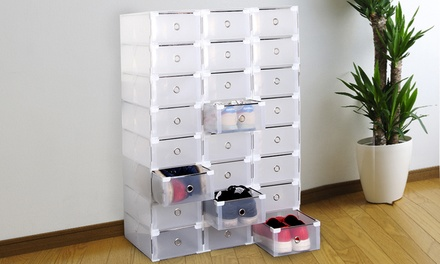 8 or 16 Transparent Foldable and Stackable Shoe Organisers
