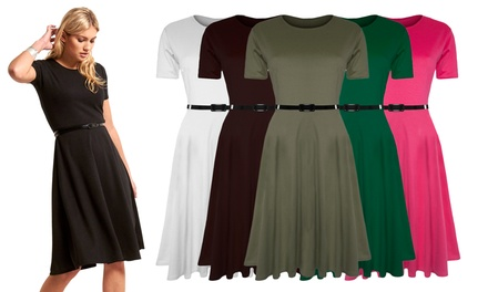 Belted Cap Sleeve Midi Skater Dress in Choice of Colour and Size