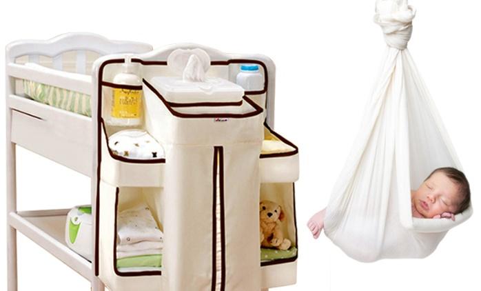 ארגונית מעוצבת למיטת תינוק, להחתלה נוחה ולאחסון המוצרים הנדרשים בהישג יד