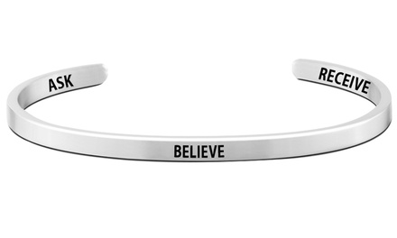 Pink Box Ask Believe Receive Engraved Stainless Steel Cuff