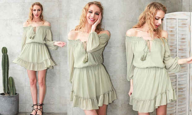 Off Shoulder Tie Front Mini Dress: One ($19) or Two ($29)