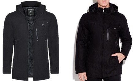 Men's Brave Soul Wool Mix Hooded Coat With Free Delivery