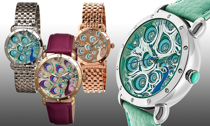 bcaa46d880d2 Bertha Genevieve Women s Watches with Mother of Pearl Peacock Dials
