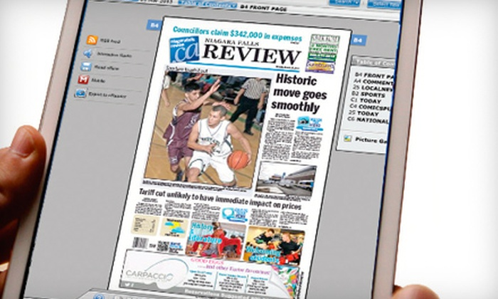 "Niagara Falls Review: $25 for One-Year Online Subscription to the ""Niagara Falls Review"" ($54.10 Value)"