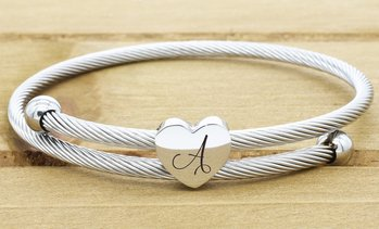 Expandable Heart Cable Initial Bracelet by Pink Box