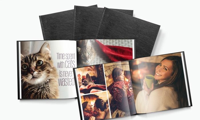 Printerpix: Album photo carré en cuir jusqu'à 100 pages