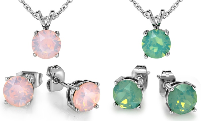 3.00 CTW Created Opal Necklace and Earring Set By MUIBLU ...