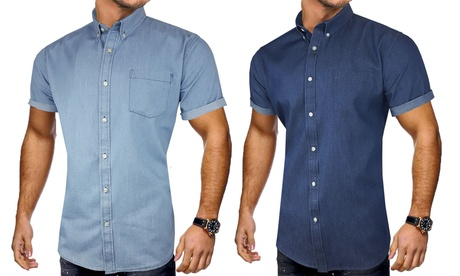 1 o 2 camisas de manga corta, tela vaquera