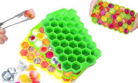1x, 2x oder 3x Silikon-Eiswürfelform für 37 Eiswürfel in Grün, Gelb oder Lila