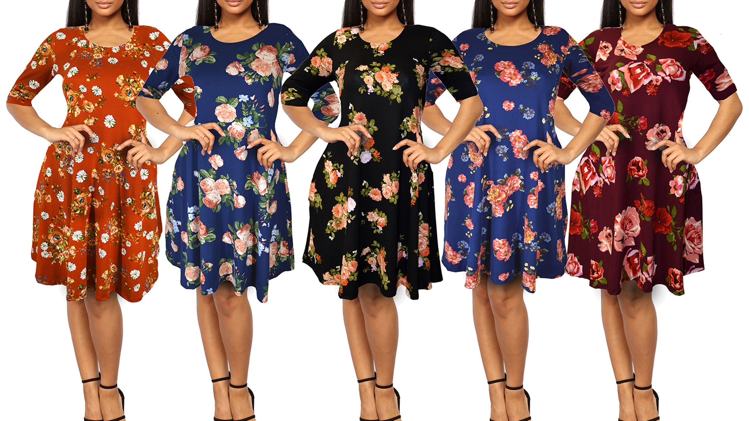 643f4a3a4770 Women s Floral-Print 3 4-Sleeve T-Shirt Dress with Side Pockets. Plus Sizes  Available.