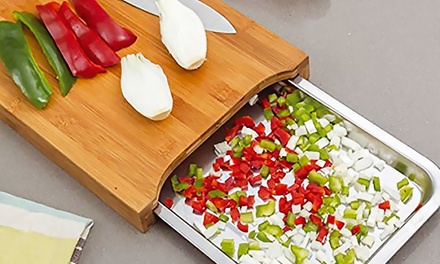 Bamboo Chopping Board with Stainless Steel Tray