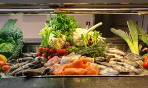 Restaurant MAX im 5-Sterne-Hotel Hilton: AYCE Boston Fish Market Buffet inkl Willkommensgetränk für bis zu 4 Personen im Restaurant MAX im Hilton (32% sparen)