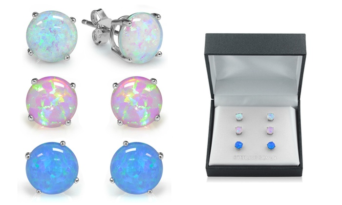 Sterling Silver Trio Blue White And Pink Opal Earring Set 3 Pair