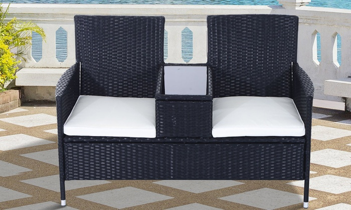 Outsunny Two-Seater Rattan-Effect Bench with Cushions
