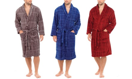 Mens Soft Fleece Checked Dressing Gown