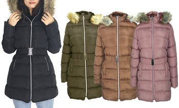 LeeHanton Women's Puffer Sherpa Hooded Jacket. Plus Sizes Available.